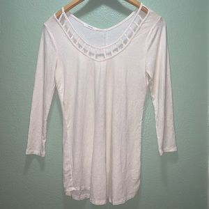 Maurices white and gold top